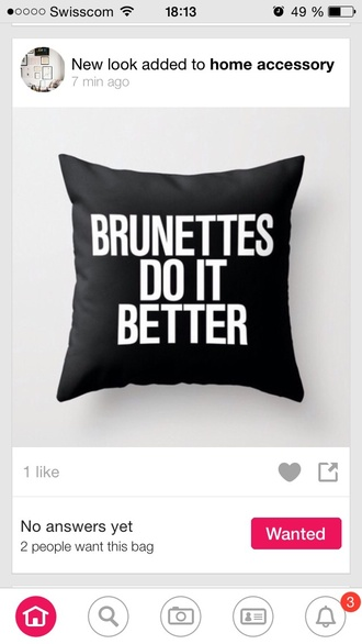 home accessory pillow brunette quote on it quote on it pillow