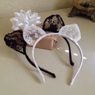 hair accessory cat ears black white lace sexy halloween accessory
