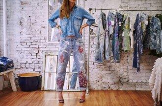 jeans embellished denim embellished blue jeans cuffed jeans sandals high heel sandals sandal heels black sandals shirt denim shirt blue shirt