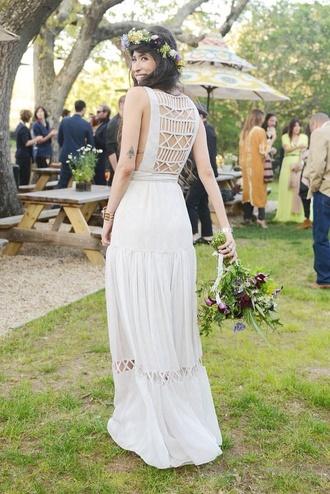 dress white dress wedding dress cut-out dress hipster dress summer dress hipster wedding country wedding