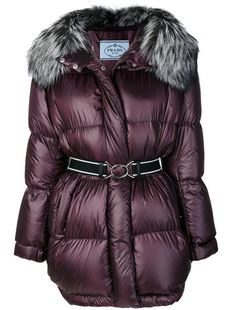 Prada coat oversized fur fox women purple pink