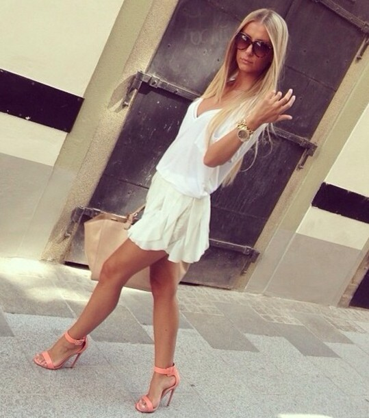 shoes coral heels ankle strap summer spring outfits