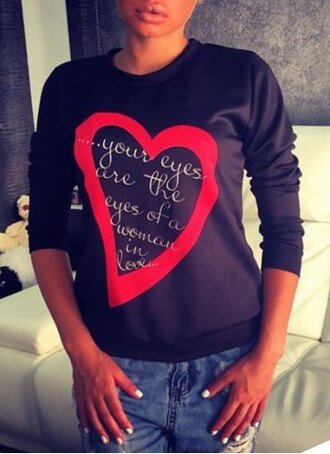 sweater heart love fashion style winter outfits fall outfits trendy cool teenagers swag black red quote on it romantic casual long sleeves girly cute