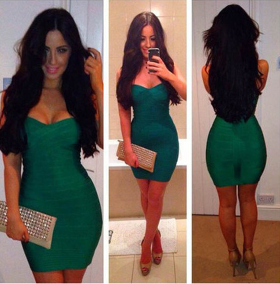 party dress bandage dress strapless celebrity style blogger emerald green