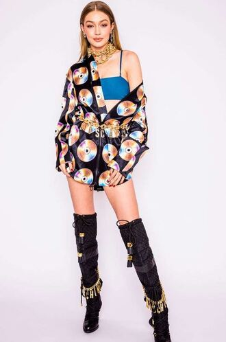 jacket blouse colorful boots gigi hadid model off-duty moschino coachella festival necklace top bralette bra