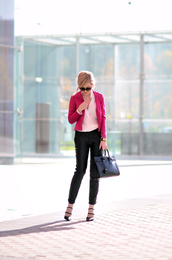 oh my vogue,blogger,blouse,sunglasses,office outfits,blazer,pink,cropped pants,bag,black leather pants,leather pants,black pants,pink jacket,black bag,shirt
