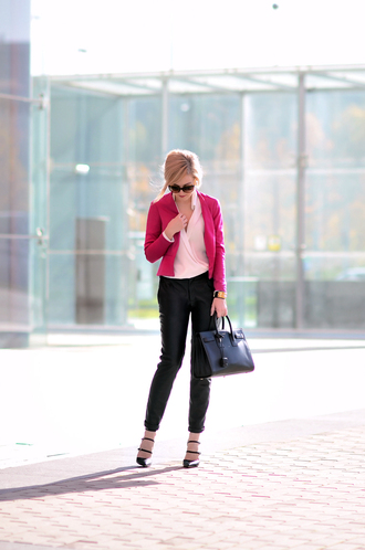 oh my vogue blogger blouse sunglasses office outfits blazer pink cropped pants bag black leather pants leather pants black pants pink jacket black bag shirt