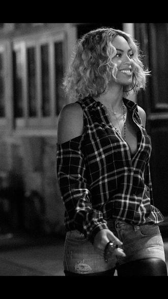 shirt beyonce flannel shirt off the shoulder shoulderless beyoncé shirt pants blouse