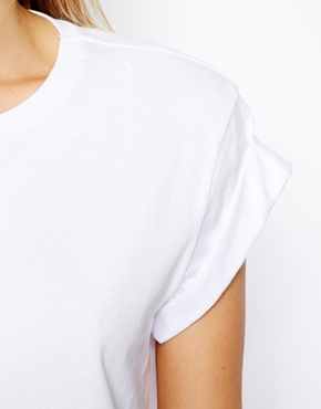 ASOS | ASOS Cropped Boyfriend T-Shirt with Roll Sleeve at ASOS