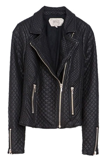 Diamond Checked Pu Leather Jackect with Zipper Details [FEBK0179]- US$59.99 - PersunMall.com