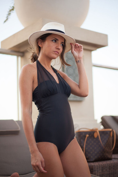 be7ecfe2b5b53 lovely pepa blogger swimwear top hat classy one piece swimsuit black  swimwear