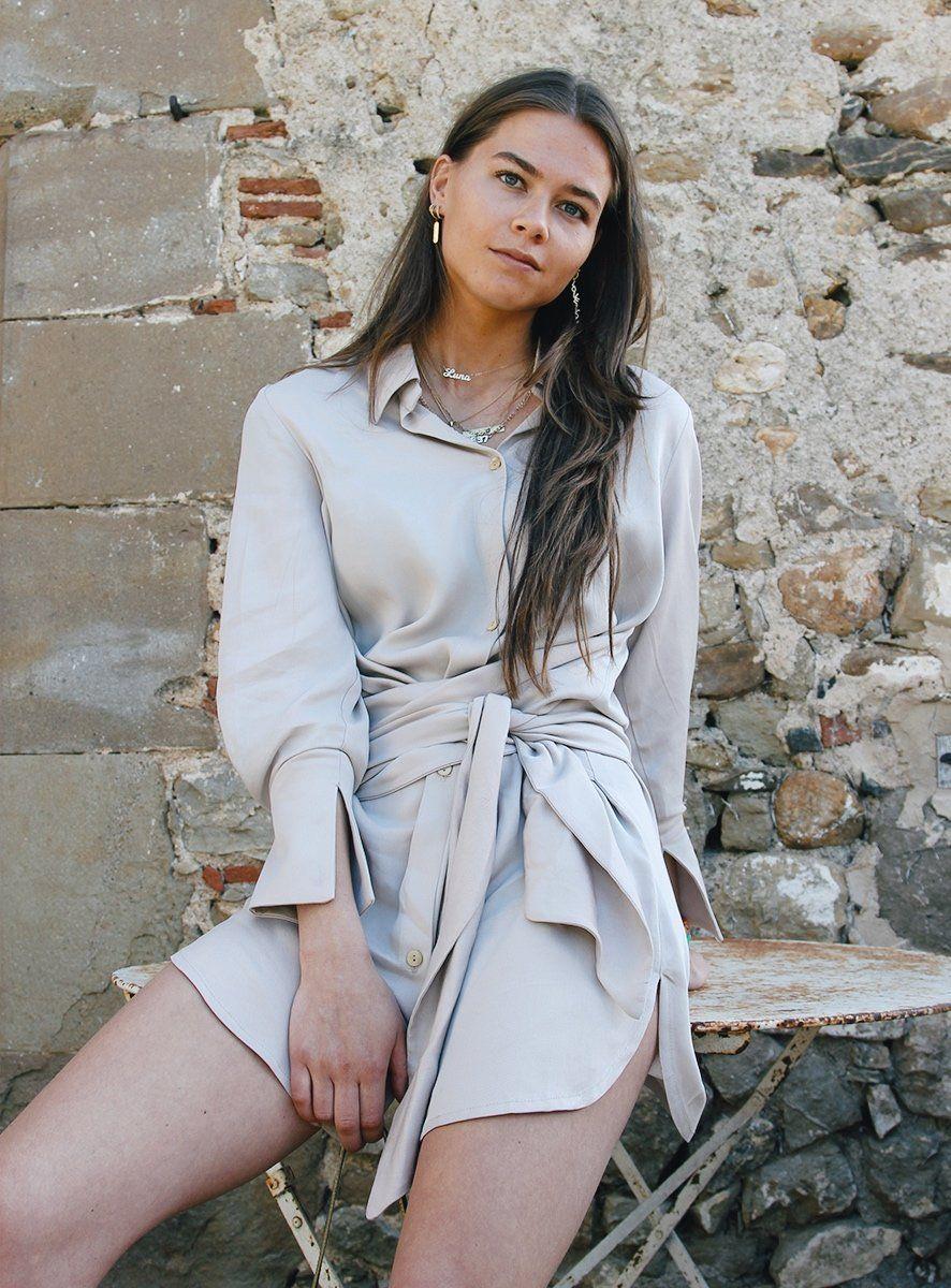 shelter dress beige