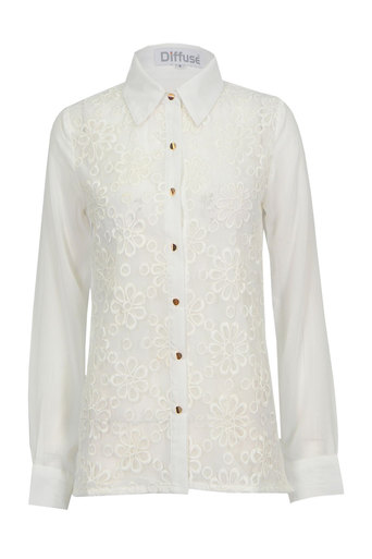 Womens Janice Flower Embroidered Shirt | Pop Couture