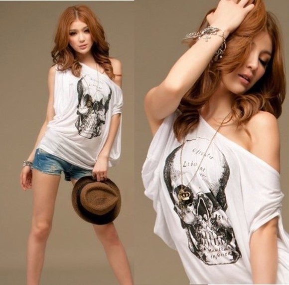 shirt skull shirt black and white