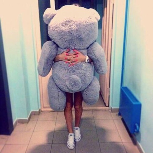gift gray top huge teddy bear human size present