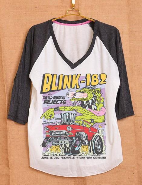 d4f3e969 baseball tee, blink 182, band t-shirt, t-shirt, band merch, punk ...