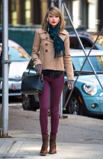 bag taylor swift scarf tartan scarf pea coat burgundy