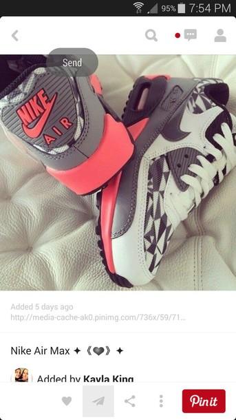 shoes nike air max 90 pink and grey