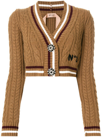 cardigan cropped women embellished mohair wool brown sweater