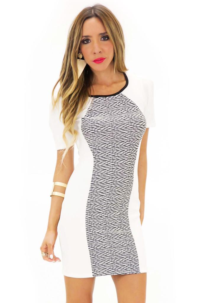 ZENIA CONTRAST BODYCON DRESS - White   Haute & Rebellious