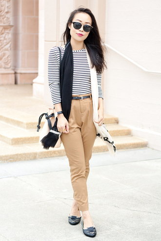it's not her it's me blogger ballet flats cats printed scarf classy printed ballerinas flats black flats camel pants pants stripes striped top top three-quarter sleeves infinity scarf sunglasses black sunglasses bucket bag nude bag