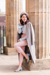 preppy fashionist,blogger,jewels,sweater,pants,shoes,bag,coat,beret,fall outfits,mid heel pumps,grey coat,pink pants,blue sweater