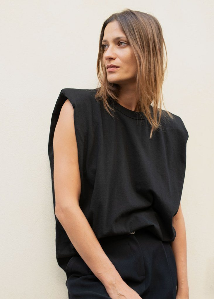 Padded Shoulder Muscle T-Shirt in Black