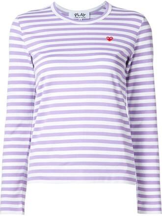 t-shirt shirt striped t-shirt heart mini purple pink top