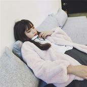 coat,dejavu cat,pink,pastel,faux fur jacket,faux fur coat,winter coat,winter outfits,girly,cute,pastel goth,harajuku,jfashion,korean fashion,korean style,chic,kawaii,tumblr,storenvy