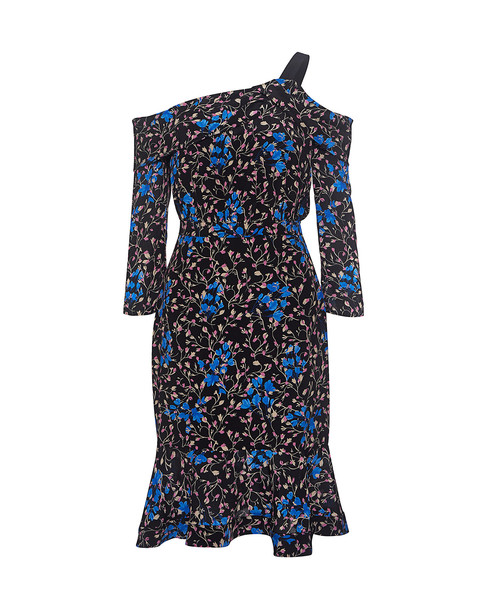 Saloni dress floral blue silk