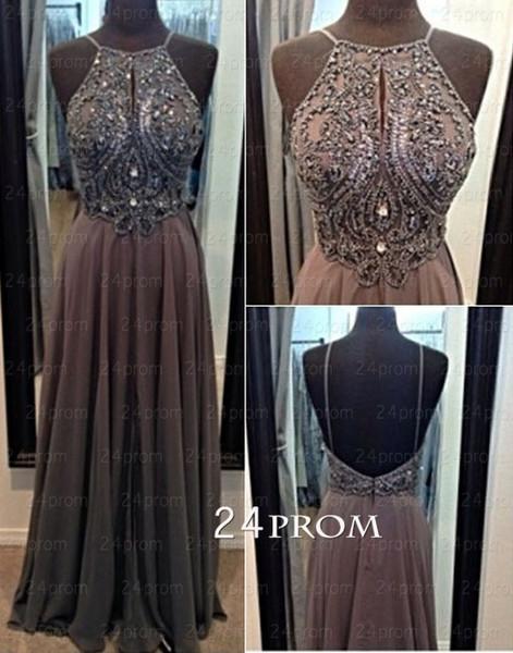 Line chiffon beaded long prom dresses, evening dresses