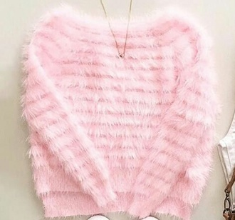 sweater rose light pink fluffy warm