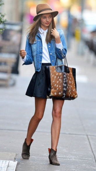 bag miranda kerr black leather skirt denim jacket shoes