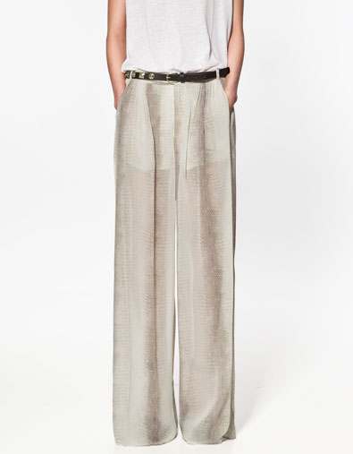 pantalon large imprim pantalons femme zara france. Black Bedroom Furniture Sets. Home Design Ideas