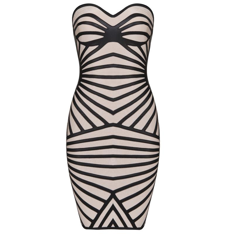 Bqueen PU Striped Strapless Bandage Dress H474
