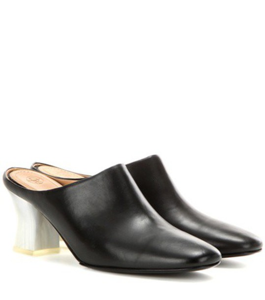 The Row Adela Leather Slippers in black