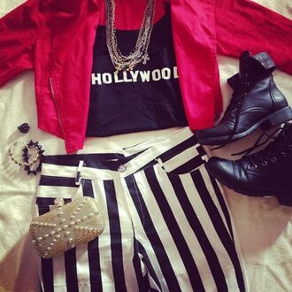 cute shirt jacket necklace red hollywood stripes boots spikes hardshell clutch ring edgy