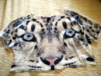 shirt animal print tiger t-shirt crop tops