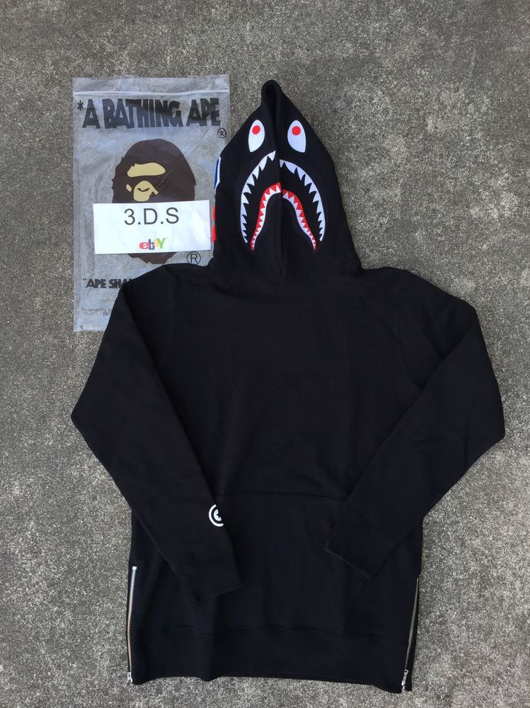 33d05f4a834c BAPE Long Length Black Shark Pullover Hoodie  Size L  100 ...