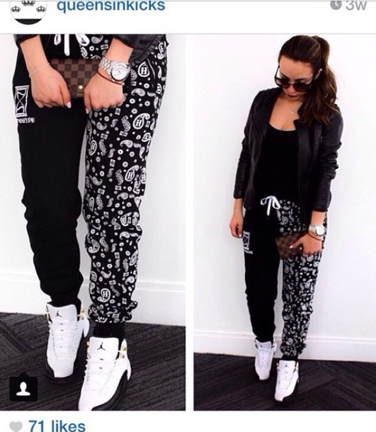 pants dope black and white joggers pants