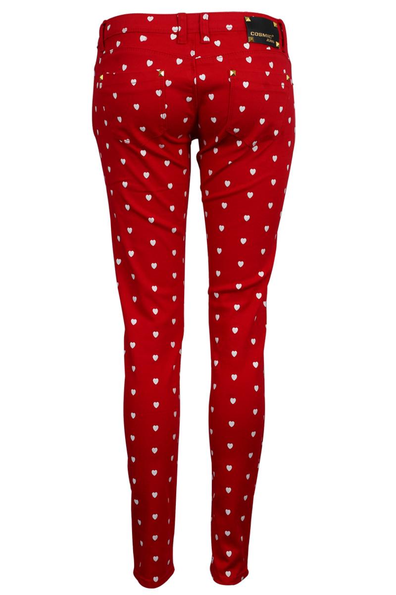 Womens Red Hearts Print Ladies Casual Demin Skinny Slim Fit Jeans ...