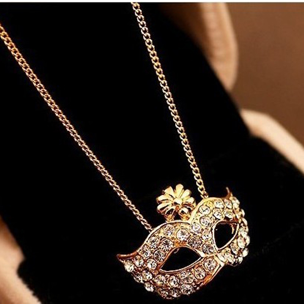 New fashion fox mask party crystal rhinestone pendant necklace golden silver