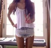 shorts,tank top,daisy,ariana grande,vest,flowers,shirt,cut off shorts,cut offs,lace,lace shorts,floral,t-shirt,clothes,cute,sunflower shirt,sunflower,ruffle,summer outfits,jeans,instagram,boho,summer pants,pretty,blouse,frayed,white top,peace sign,peace,perfect,summer shirt,top,munch,hipster,denim shorts,crochet