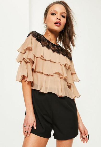 Missguided Black Frill Top Lace Insert Romper