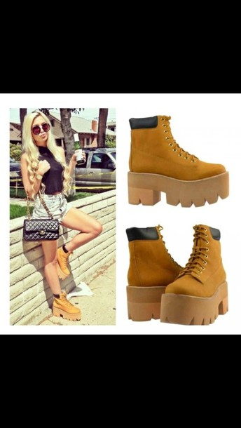 shoes, brown, boots, timberlands, lace
