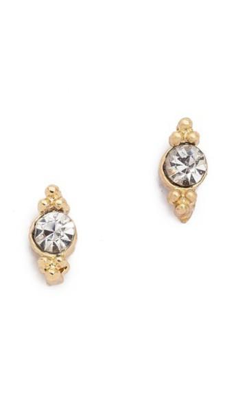 SHASHI mini clear earrings stud earrings gold jewels