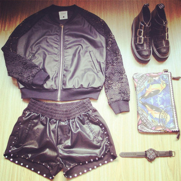 leather jacket outfit black coord lace boots buckle punk metal edgy
