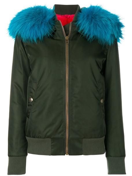 jacket bomber jacket fur women dog cotton green