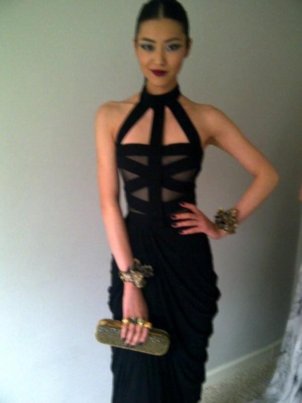 dress formal clothes black high neck maxi model black dress cut-out maxi dress black maxi dress halter dress mesh bodycon