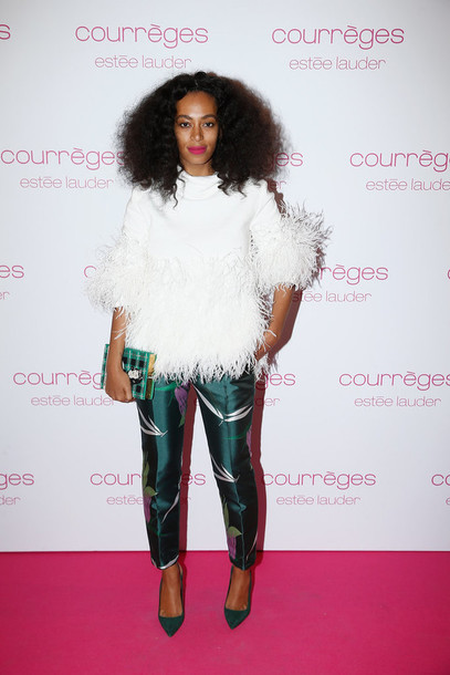 top pants solange knowles feathers